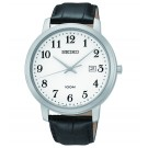 Three-Hand Date Black Leather Men's watch